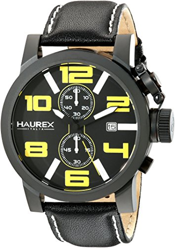 Haurex Italy Men's 3N506UYN TURBINA II Analog Display Quartz Black Watch - Haurex Black Watch