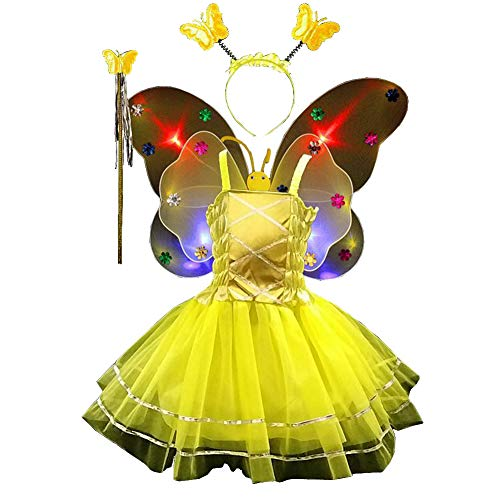 Fairy Costume Set 4pcs,Girls Dress Up Princess Dress, Butterfly Wings, Wand and Headband for Children Ages 3-10 (Yellow-LED Light) ()