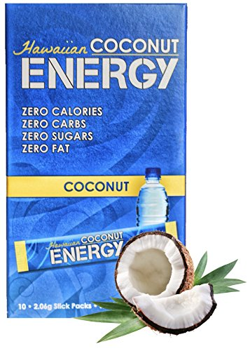New Hawaiian Coconut Water Healthy Energy Drink - Instant Natural Energy Drink 10 Packets - Non GMO, Vegan, Gluten Free (Drink Mix Power Carb)