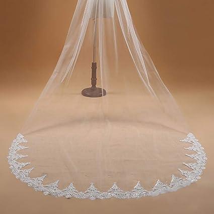 Amosfun voile de mari/ée long voile beige simple couche avec peigne long 0 8 m simple accessoires de mariage /él/égant pour femme femme