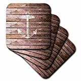 3dRose cst_120205_2 Anchor Stamp on Wood Texture Graphic Print Not Actually Wooden Brown Grunge Nautical Theme Soft Coasters, White, Set of 8
