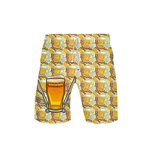 Togethor Women's German Costumes Bavarian Oktoberfest Carnival Halloween3-D Printed Beer Festival Leisure Beach Pants Gold -