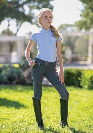 Extended Patch Breech - Goode Rider Girl's Pro Rider Breeches Knee Patch (Charcoal, 12)