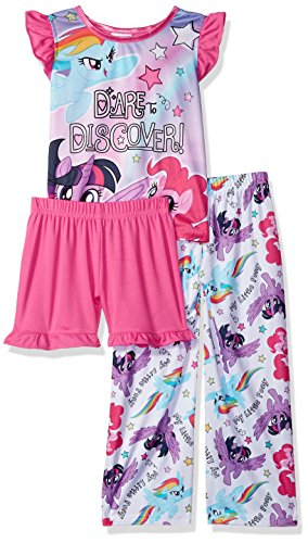 (My Little Pony Girls' Big Magical 3-Piece Pajama Set, Daring Pony Pink,)