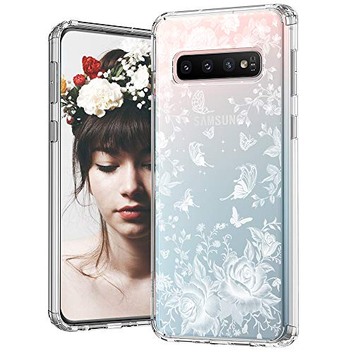 (MOSNOVO Galaxy S10 Case, White Roses Garden Floral Flower Pattern Printed Clear Design Transparent Plastic Back Case with TPU Bumper Protective Case Cover for Samsung Galaxy S10)