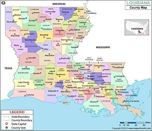 I 20 Louisiana Map.Amazon Com Louisiana Parish County Map Laminated 36 W X