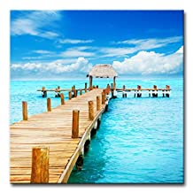 My Easy Art® Modern Canvas Painting Wall Art The Picture For Home Decoration Tropic Paradise Jetty On Isla Mujeres Mexico Cancun Beach Seascape Print On Canvas Giclee Artwork For Wall Decor