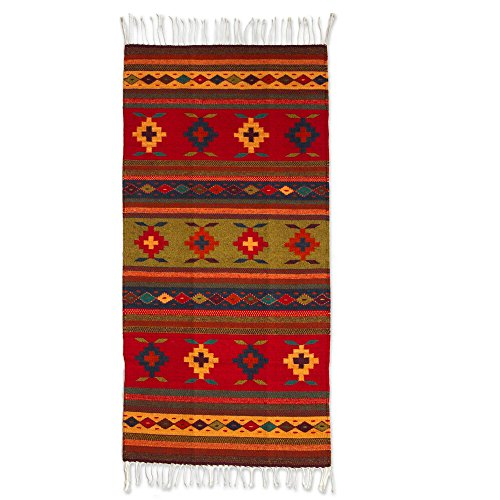 NOVICA Multicolor Red Yellow Wool Geometric Flat-Weave Area Rug (2.5x5), Geometric Flower'