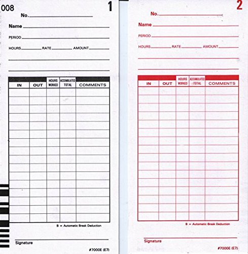 "Lathem Bar Coded Time Cards, for Use with Lathem 7000E & 7500E Time Clocks, 7"", 100 Pack (E7-100) - 2 Pack"