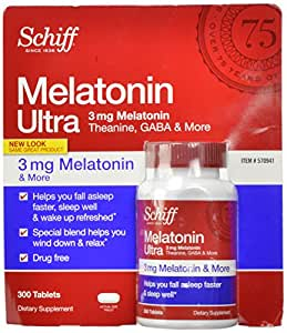 Schiff Melatonin Ultra. 300 Tablets. 3mg Melatonin + 25mg L-Theanine + 25mg GABA + Chamomile & Valerian Extracts