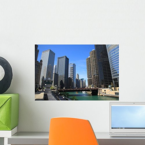 Chicago River and Skyline Wall Mural by Wallmonkeys Peel and Stick Graphic (18 in W x 12 in H) - Place Tower Water Downtown Chicago