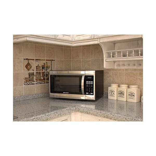 Emerson 1.3 CU. FT. 1000 Watt, Touch Control, Stainless Steel Front, Black Cabinet Microwave Oven, MW1338SB 6