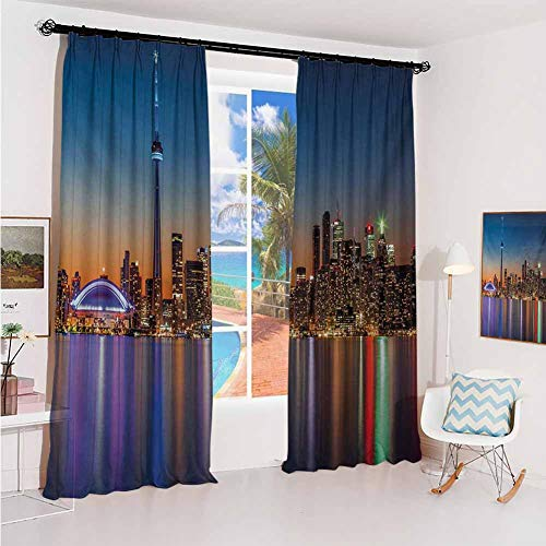 Landscape Pleated curtains with blackout and lining Urban Theme A Cityscape View of Toronto and the Skyscrapers at Dusk Digital Print Used for Living room bedroom with sliding door patio door W52 x L (Patio Toronto)