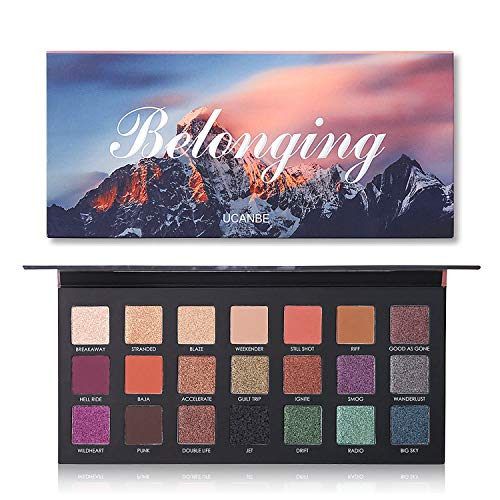 UCANBE 21 Colors Pigmented Eyeshadow Palette Makeup, 15 Shimmer and 6 Matte velvety texture Lasting Blendable Eye Shadow Palette Neutrals Smoky Purple Shimmer Make Up Set