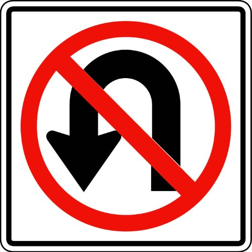 Street & Traffic Sign Wall Decals - No U Turns Symbol Sign - 12 inch Removable Graphic