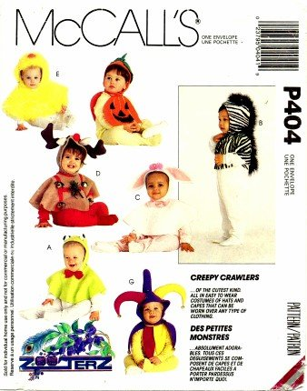 McCall's P404 Sewing Pattern Infants and Toddlers Zooterz Creepy Crawlers Costumes