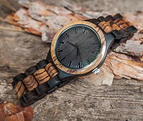 Wooden Watch Engraved Anniversary Gift to My Husband Always and Forever Wife to Husband Gift Best Wedding Personalized Birthday Gifts for Him Man - Zebra Black