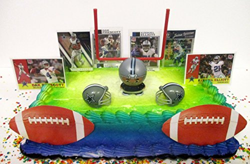 Dallas Cowboys Birthday Cake Topper Set Featuring Dak Prescott, Ezekiel Elliott and Decorative Themed Accessories -