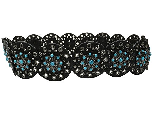 M&F Western Women's Nocona Wide Concho Disk Belt Black/Turquoise XL (42