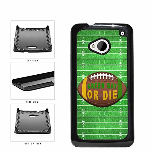 Green Bay or Die Football Field Plastic Phone Case Back Cover HTC One M7 comes with Security Tag and MyPhone Designs(TM) Cleaning Cloth from MyPhone Designs