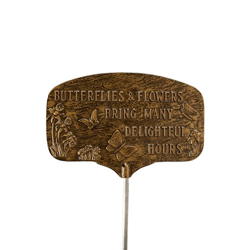 Frog Garden Sign (Montague Metal Products Butterflies Garden Plaque, Aged Bronze)