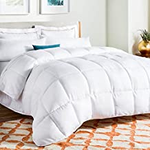 LinenSpa White Goose Down Alternative Quilted Comforter with Corner Duvet Tabs, Queen Size
