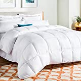 Linenspa All-Season Down Alternative Quilted Comforter - Hypoallergenic - Plush Microfiber Fill - Machine Washable - Duvet Insert or Stand-Alone Comforter - White - Oversized Queen