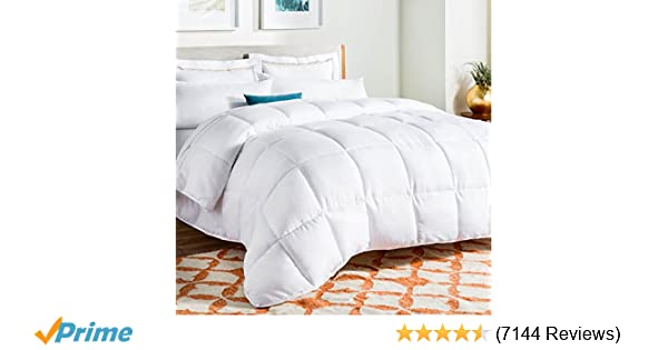 ... Quilted Comforter   Hypoallergenic   Plush Microfiber Fill   Machine  Washable   Duvet Insert Or Stand Alone Comforter   White   Twin XL: Home U0026  Kitchen