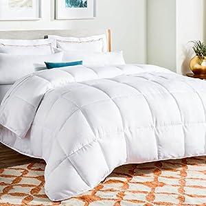 Linenspa All-Season Down Alternative Quilted Comforter – Hypoallergenic – Plush Microfiber Fill – Machine Washable – Duvet Insert or Stand-Alone Comforter – White – Full