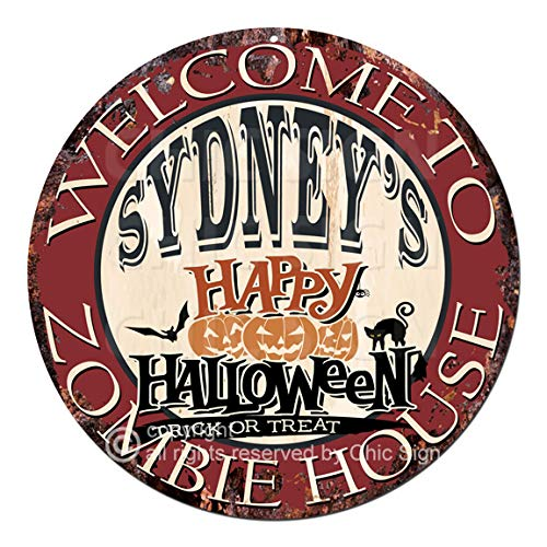 Welcome to The Sydney'S Happy Halloween Zombie House Chic Tin Sign Rustic Shabby Vintage Style Retro Kitchen Bar Pub Coffee Shop Man cave Decor Gift Ideas