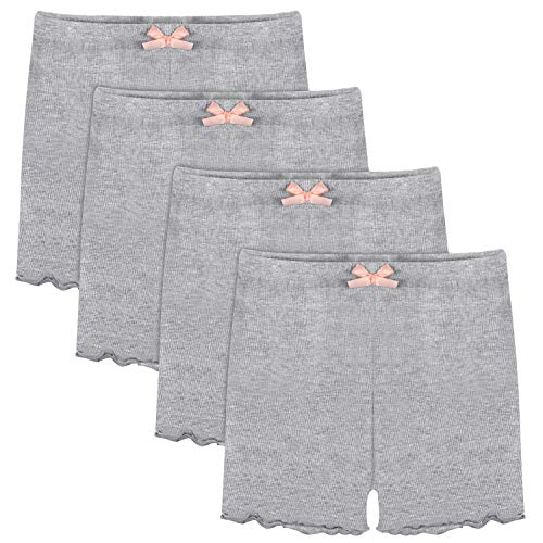 Play Dress Leggings - BOOPH Girls Dance Bike Short, 4-Pack Safety Underskirt Girls' Undershorts for Sports, Play 3-10Y Grey