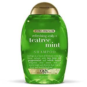 OGX Extra Strength Refreshing Scalp + Teatree Mint Shampoo, Invigorating Scalp Shampoo with Tea Tree & Peppermint Oil & Witch Hazel, Paraben-Free, Sulfate-Free Surfactants, 13 fl oz