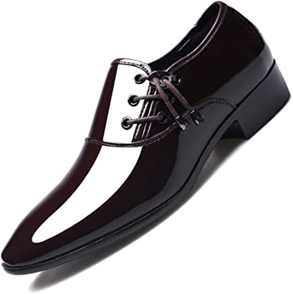 Mens Black Chunky Heel Pointed Toe Lace Up Business Dress Formal Wedding Shoes
