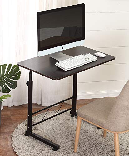Akway Mobile Laptop Desk Cart 31.5 19.6 inch Height Adjustable Rolling Cart Notebook Computer Stand Bed Table for Eating and Laptops, Black