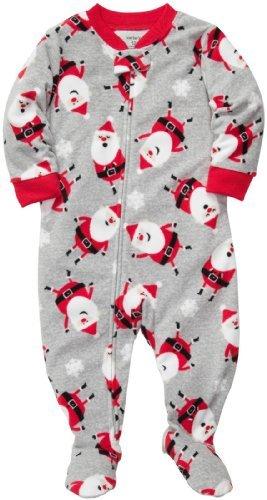 Niños de 1 pieza Micro-polar pijamas de Carter Navidad (Juvenil 4, Gris