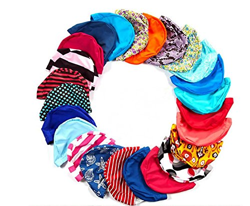 5PC Colorful Printed Swimming Caps Free Size Protect Ears Hair Men Women Adults Swim Pool - Nylon Swim Caps