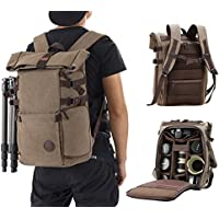 Finnkare Large DSLR SLR Camera Backpack Camera Bag Video Photo Photography backpack Waterproof for Lens and Accessories with Tripod Hanging Belt and Rain Cover for Canon Nikon Brown