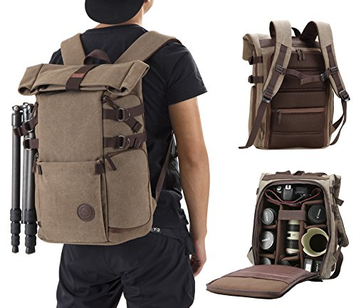 Finnkare Backpack For Slr Dslr Cameras And Accessories With Tripod Hanging Belt And Rain Cover Brown