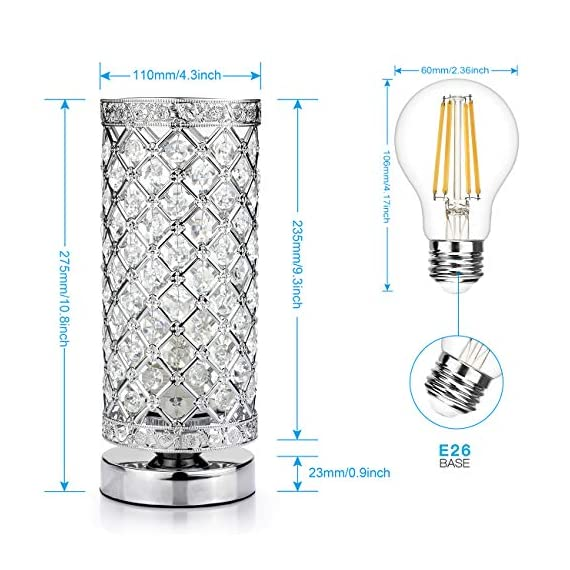 Crystal Table Lamp Touch Control Dimmable Accent Desk Lamp Bedside Modern Table Light with Sliver Lamp Shade Night Light Fixture for Living Room Bedroom Kitchen, by Seaside village - Dimensions: 4.3 inch/110mm diameter, 10.8 inch/275mm high with a 59 Inch/1500mm plug-in power cord Table lamp touch sensor with 4 settings (Low, Medium, High, Off). UL-listed touch power source makes the bedside table lamp safer and more durable 110 pieces of k9 crystal are wired in to avoid falling out. The touch cylinder lamp is built with a sturdy metal frame, standard base and E26 socket - lamps, bedroom-decor, bedroom - 51OaPLc6QlL. SS570  -