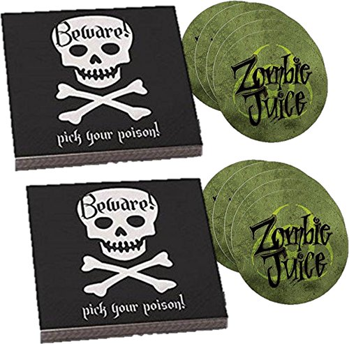Skull Party Napkin and Zombie Coaster Drink Set - Skull and Crossbones Pick Your Poison Beverage / Cocktail Napkins and Zombie Juice Paper Coasters - 2 Packs each