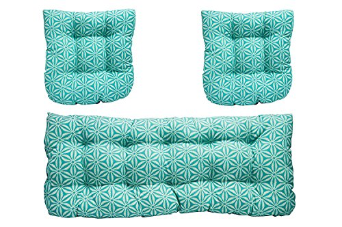 3 Piece Wicker Cushion Set - Indoor / Outdoor Tommy Bahama - Star Batik Caribe Pattern Fabric Cushion for Wicker Loveseat Settee & 2 Matching Chair Cushions by Resort Spa Home Decor