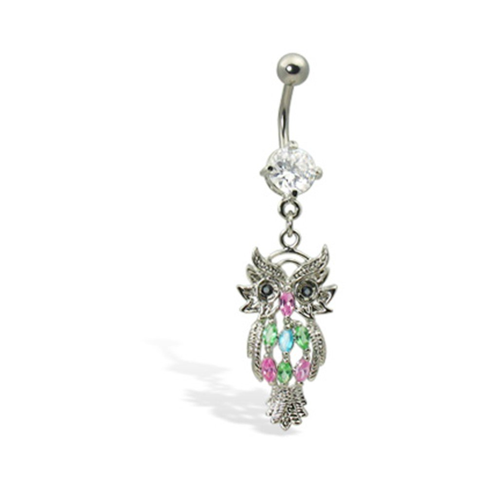 MsPiercing Navel Ring With Dangling Jeweled Owl