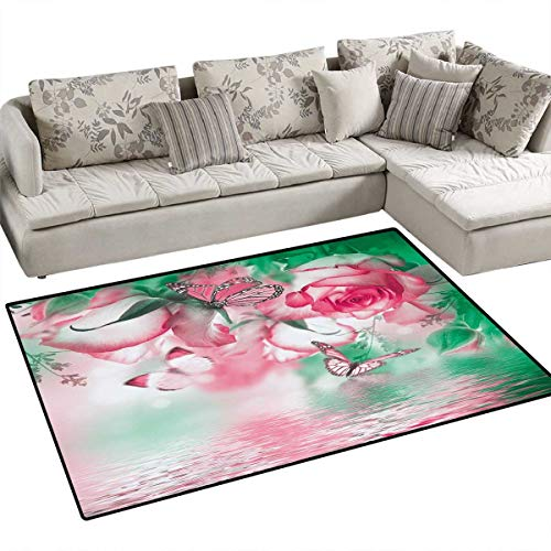 Spring Anti-Skid Rugs Refreshing Rose Petals and Butterfly Water Romance Beauty Bouquet Design Girls Rooms Kids Rooms Nursery Decor Mats 3'x5' Jade Green Pale Pink