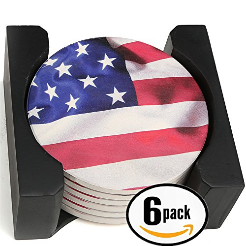 Enkore Ceramic Coasters - God Bless America, American Pride, US Flag Design - Bundle of 6 Condensation Thirsty Stonewares In A Contemporary Display Holder