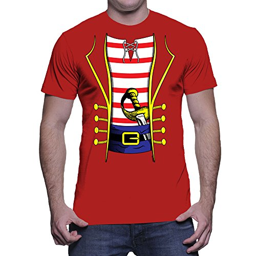 HAASE UNLIMITED Men's Pirate Costume T-Shirt (Red, Large)