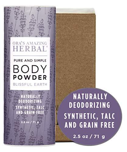 Natural Body Powder, Dusting Powder, Natural Deodorant Powder, No Talc, Corn, Gluten, GMO, Ora's Amazing Herbal (Blissful Earth scent with Lavender)