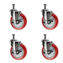 "4 Inch Swivel Casters with Brake - 1/2"" Threaded Stem - 4"" x 1.25"" Non Marking Red Polyurethane Wheel - Set of 4"