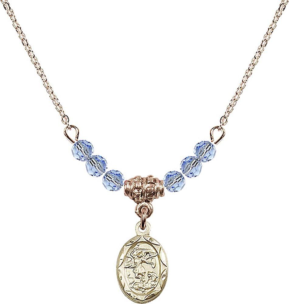 18-Inch Hamilton Gold Plated Necklace with 4mm Jet Birthstone Beads and Saint Michael the Archangel Charm Patron Saint of Police Officers//EMTs