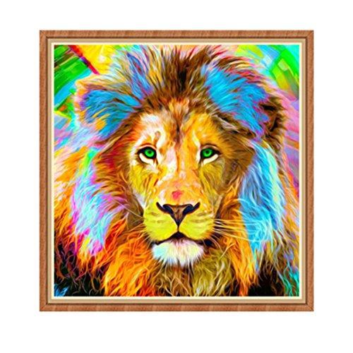 Swyss 5D Embroidery Paintings DIY Diamond Painting Cross Stitch- Art Home Decor- Animals-Lion (D 30X30cm FULL Diamond)