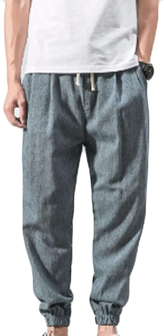 Inlefen Pantalones de Playa para Hombre Pantalones de harén de Corbata Pantalones de Linterna Pantalones de Lino con Bolsillos Laterales Pantalones cómodos y livianos